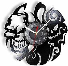 Vinyl Wall Clock Skull Head Decorative Silent Non