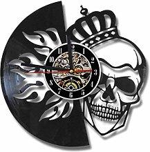Vinyl Wall Clock Skull Wall Clock Modern Design