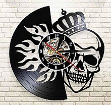 Vinyl Wall Clock Skull with Crown On Fire Wall Art