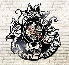 Vinyl Wall Clock Tattoo Skull with Rose Vinyl