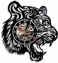 Vinyl Wall Clock Tiger Head Wall Clock Wild Animal
