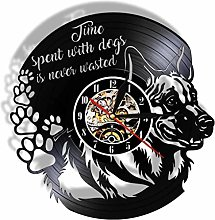 Vinyl Wall Clock Time Spent with Dogs Never Waste