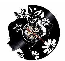 Vinyl Wall Clock Vinyl Wall Clock Girl with Floral