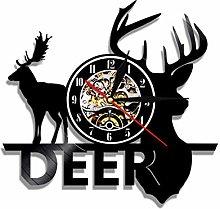 Vinyl wall clock with deer head, retro design,