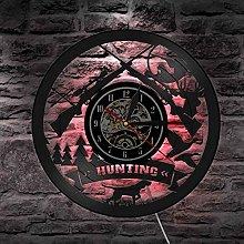 Vinyl wall clock with hunting logo, rifle logo,