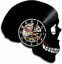 Vinyl wall clock with skull, shadow silhouette,