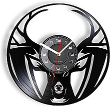 Vinyl wall clock with wild deer head for hunting,