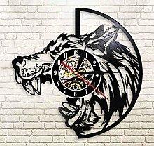 Vinyl Wall Clock Wolf Head with Sharp Teeth Vinyl