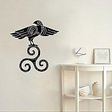 Vinyl Wall Decal Flower Bird Rune Door and Window