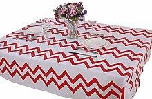 Vinylla Chevron Red Easy Wipe Clean PVC Tablecloth