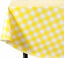 Vinylla Gingham Check Yellow Easy Wipe Clean PVC