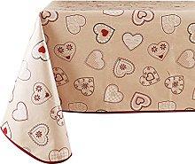 Vinylla Heart Red Easy Wipe Clean Vinyl Tablecloth