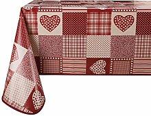Vinylla Red Heart Easy Wipe Clean Vinyl Tablecloth