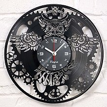 Vinyra Steampunk Owl Vinyl Record Clock -