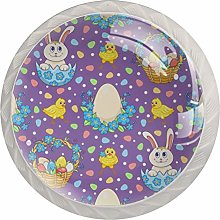 Violet Easter with Rabbits Set of 4 Dresser Round