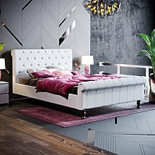 Violetta Double Bed, Light Grey Linen