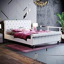 Violetta King Size Bed, Light Grey Linen