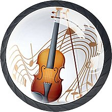 Violin with Music Notes 4 Pcs Crystal Glass Drawer