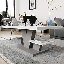 Viosimc Coffee Table for Living Room White & Grey