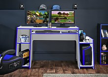 Virtuoso Horizon Gaming Desk - Blue and White
