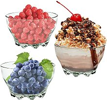 Vision4ever 3 Bowls Glass Dessert Party Fruit