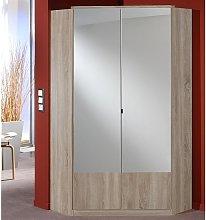 Vista Mirrored Corner Wardrobe In Oak Effect With