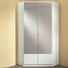 Vista Mirrored Corner Wardrobe In White With 2