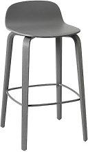 Visu Bar stool - Wood - H 65 cm by Muuto Dark grey