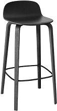 Visu Bar stool - Wood - H 65cm by Muuto Black