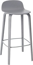 Visu Bar stool - Wood - H 65cm by Muuto Grey
