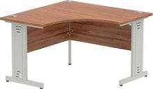 Vitali Deluxe Corner Desk (Silver Legs), Walnut