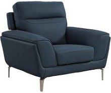 Vitalia Fixed Leather 1 Seater Sofa In Indigo
