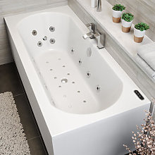 Vitura Double Ended Curved Whirlpool Bath - LED