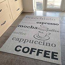 Viva Rugs Grey Kitchen Rug Modern Coffee Pattern