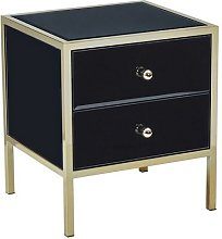 Vivian Modern Glass Bedside Cabinet In Black And