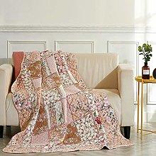 VIVILINEN Quilted Throw Blanket Patchwork parttern