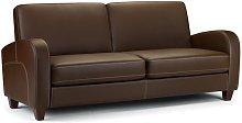 Vivo 3 Seater Sofa Settee Chestnut Brown Faux