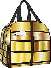VJSDIUD Reusable Cooler Lunch Bag Gold Background