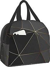 VJSDIUD Reusable Cooler Lunch Bag Gold Polygonal