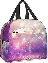 VJSDIUD Reusable Cooler Lunch Bag Purple Glitter