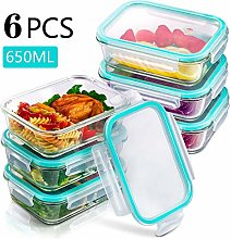 VKFX Glass Food Storage Containers with Snap-on
