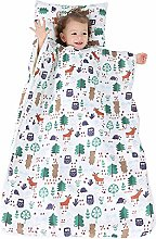 VKTY Kids Nap Mat, Portable Slumber Bag for Toddler Boys and Girls Lightweight and Soft Sleepover Set Built-In Cotton Liner Nordic Forest (Size M)
