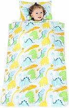 VKTY Kids Nap Mat, Portable Slumber Bag for Toddler Boys and Girls Lightweight and Soft Sleepover Set Built-In Cotton Liner Dinosaur Baby (Size S)