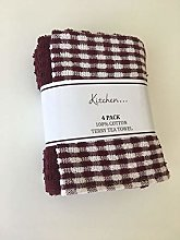 VL Sara Textile 4 Pack Mono Check Terry Tea Towels