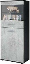 Vladon Tall Display Cabinet Cupboard Almada,