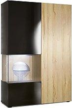 Vladon Tall Display Cabinet Cupboard Morena,