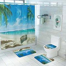 Vlejoy 3D Beach Boat Printing Shower Curtain
