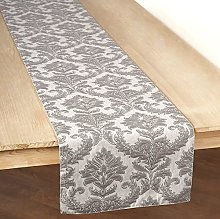 VLving Grey Damask pattern applique and Embroidery