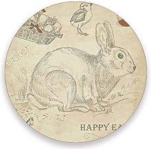 Vnurnrn Vintage Easter Bunny Egg Chick Coaster for