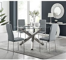 Dining Table Only Furniturebox Uk Venice Chrome Metal Round Glass Dining Table And 4 Andora Dining Chairs Set Dining Room Sets Home Kitchen Springcanyonwsd Com